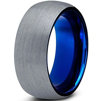8mm Silver Brushed Dome Cut Blue