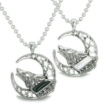 Love Couple Howling Wolf Moon Stars Positive Earth Energy Yin Yang Pendant Necklaces
