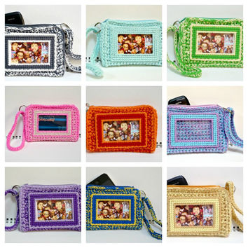 Zippered Wristlet ID Card Purse Cardholder Cellphone Cozy Small Crochet Purse 5 x 3.75 x 1 inches Your choice of colors READY MADE