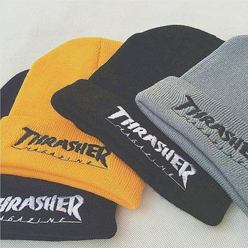 ONETOW Thrasher Embroidery Hiphop Woman Men Beanies Winter Knit Hat Cap