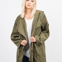 Hooded Waist Tie Jacket