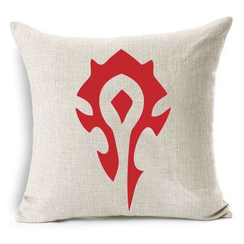 Game WOW Horde Logo Pillow Case For Bedroom Printed Chair Seat 18x18 inches Home Decorative Pillow Throw Pillow Covers