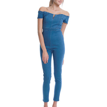 Run This Town Denim Jumpsuit - Blue