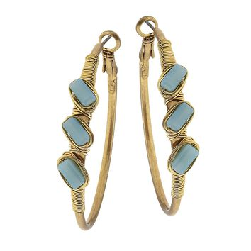 Worn Gold Hoop Wire Wrapped Glass Earring Opaque Aqua
