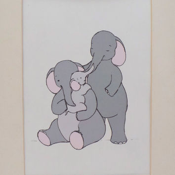 Nursery art - elephant family - baby room decor - animal wall art - A5 (15x21cm) illustration - mummy, daddy and baby drawing