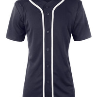 LE3NO Womens Oversized Short Sleeve Button Up Baseball Jersey Shirt