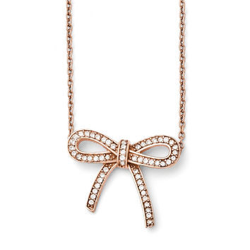 Stainless Steel Crystal Polished Bow with 1.75in ext. Necklace SRN1449