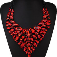 Red Crystal Chunky Chain Collar Necklace