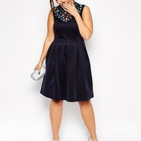 ASOS CURVE Scuba Midi Dress with Jewelled Neck in Longer Length at asos.com