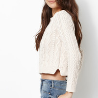 Kendall and Kylie Cable Stitch Cropped Pullover Sweater at PacSun.com