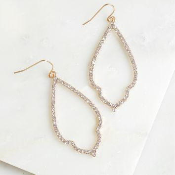 Open Oval Diamond Earrings Gold
