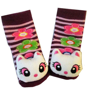 3D Kitty (pink eyes) and Purple / Pink Stripe Baby Sock- Non Skid 0-12 months