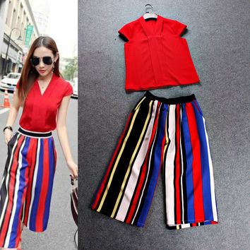 Solid V-Neck Cap Sleeves Top Colored Wide Leg Pants