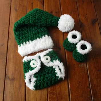 Green Newborn Christmas Outfit Baby Santa Photo Prop