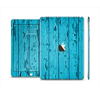 The Blue Aged Wood Panel Skin Set for the Apple iPad Air 2