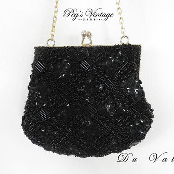 Vintage 60's Black Du Val Purse Clutch Bag, Black Beads and Sequins Evening Clutch, Cocktail Purse Hong Kong
