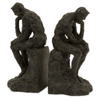 Pair of Thinking Man Bookends, Black, Bookends