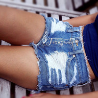 Jean shorts High waist Distressed Ripped Frayed Cut Off Shorts denim Custom Made To Order