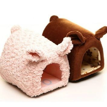 Pet Kingdom Cute Rabbit Dog House Cat Bed Pet House,Small (Brown With Velveteen)