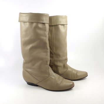 Taupe Leather Boots Vintage 1980s Slouch Tall Slouchy Women's size 7
