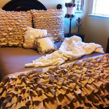 Burlap Color Ruffled Bedding