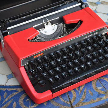 MADE TO ORDER - Custom made Red brother 220 deluxe - Working Vintage Typewriter