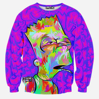 Faded Bart Simpson All Over Print The Simpsons Bart Simpson Smoking A Joint High On Weed Colorful Rainbow Purple Crew Neck Sweatshirt