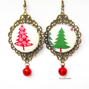 jingle bells Christmas tree earrings red green fabric jewelry
