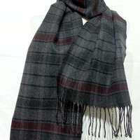 Burgundy and Gray Scarf, Burgundy and Gray Men's Scarf, Gray and Burgundy Wool and Chasmere Men's Scarf - KR1411071