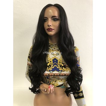 Black lace front wig with bangs - Jane