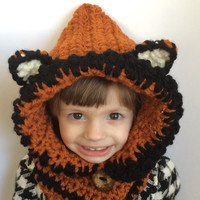 Children's fox hat, hooded cowl, crochet cowl, kid's winter hat