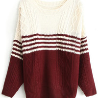 ROMWE | Long Sleeves Twisted Burgundy Striped Jumper, The Latest Street Fashion