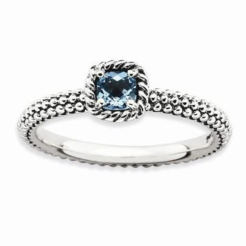 Sterling Silver Stackable Expressions Checker-cut Blue Topaz Antiqued Ring