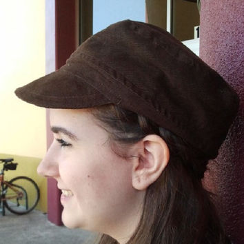 Cadet Cap, Military Cap, Corduroy Black, Pleated front, Elastic Back