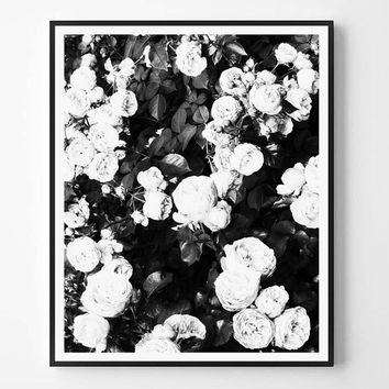 Rose Print, Black and white Photography, Fashion print, Minimal photo, Flowers Wall Art, Minimalist Print, Scandinavian Printable, Modern
