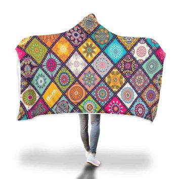 Colorful Mosaic Print Hooded Blanket