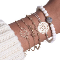 5pcs Women's Beaded Yoga Bracelet Set