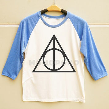 S M L -- Deathly Hallows Shirts Harry Potter Shirts Funny Shirts Men Shirts Women Shirts Long Sleeve Baseball TShirts Raglan Baseball Shirts
