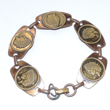 Indian Head Copper Brass Vintage Bracelet, 1970s Link Bracelet, Costume Jewelry, vintage jewelry