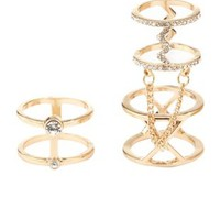 Gold Chained & Caged Rings - 2 Pack by Charlotte Russe