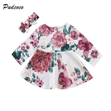Floral Newborn Baby Dress 2017 Autumn Spring Long Sleeve Princess Girl Party Dresses Headband 2PCS Outfit Sundress Clothes 0-24M