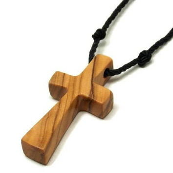 Mens Cross Jewelry, Holy Land Olive Wood, Cross Necklace Men, Bethlehem Olive Cross, Minimalist Cross Necklace, Mens Cross Necklace Pendant