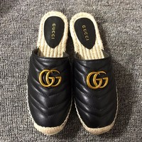 GUCCI 2019 new women's double Glogo straw fisherman shoes Black