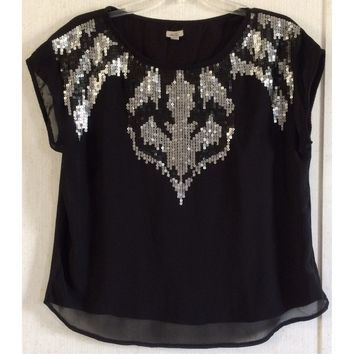 Ecote Urban Outfitters Sequin Chiffon Top Tee Black Silver Bling Sheer Front M
