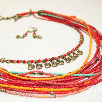 Red multi colored coral multi strand necklace with pendants swans. Traditional Ukrainian multi strand necklace.  Necklace in folk boho