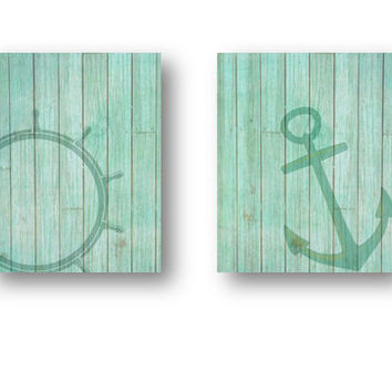 Vintage Nautical Picture Prints PRINTABLE Set of 2 Mint blue turquoise wood rustic bathroom beach home or nursery anchor navy decor Digital