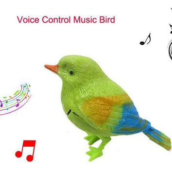 9.5cm Simulation sounding bird Voice Control Music Bird Cute Sing bird toy Electronic pets Song Morning bird Cage decorations