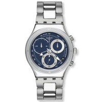 Swatch YCS547G Men's Oblique Blue Dial Stainless Steel Chronograph Watch