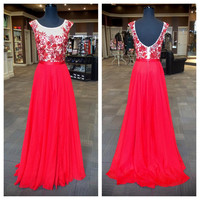 New Arrival O-neck Embroidery Red Chiffon Skirt 2k16 Prom Dress APD1643