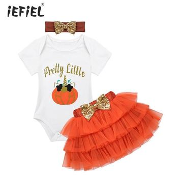 Infant New Baby Girls Romper Halloween Outfits Short Sleeves Pretty Baby Clothes Costumes Cartoon Pumpkin Romper with Tutu Skirt